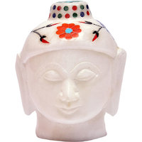 White Marble Budha Head For Home Use 3.5 Inch