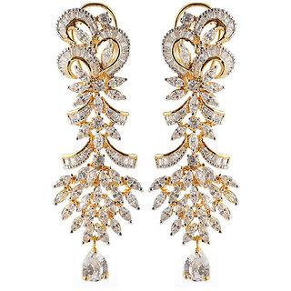 Heavy american diamonds long earrings