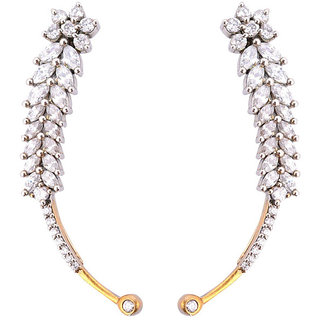 Trendy earcuff with american diamonds in antique golden polish