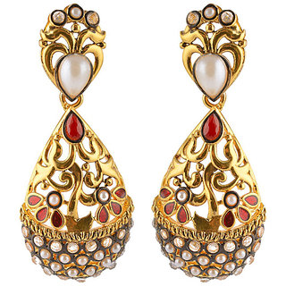 Designer earrings with white pearls and red stones