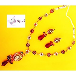 Floral Gold Plated Necklace Set