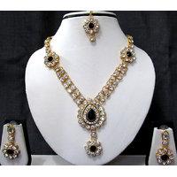 Black nice flower stone necklace set