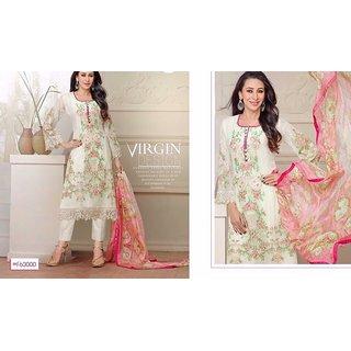 Trendz Apparels White Faux Georgette Pant Style Salwar Suit