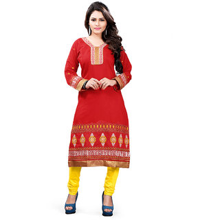 Lovely Look Red Embroidered Stitched Kurti LLK2ELE113XXL