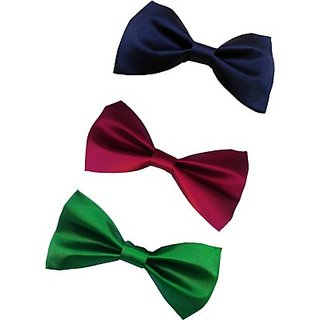 Wholesome Deal Maroon Green And Navy Blue Colour Neck Bow Tie (Pack of Three)
