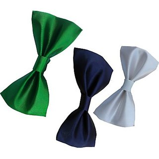 Wholesome Deal Green white And Navy Blue Colour Neck Bow Tie (Pack of Three)