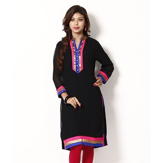 Buransh Gorgeous Black Faux Georgette Long Kurti