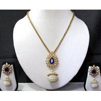 Dark Blue stone gota chain pendant necklace set