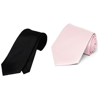 Wholesome Deal Black And Pink Colour Microfiber Narrow Tie (Pack of Two)