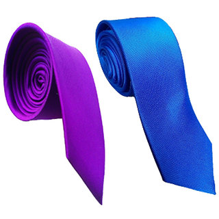 Wholesome Deal Purple And Royal Blue Colour Microfiber Narrow Tie (Pack of Two)