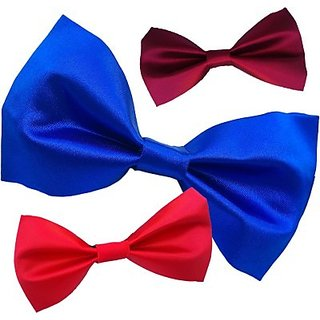 Wholesome Deal Red Royal Blue And maroon Colour Neck Bow Tie (Pack of Three)