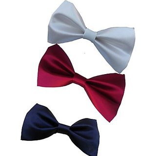 Wholesome Deal Navy Blue Maroon And White Colour Neck Bow Tie (Pack of Three)