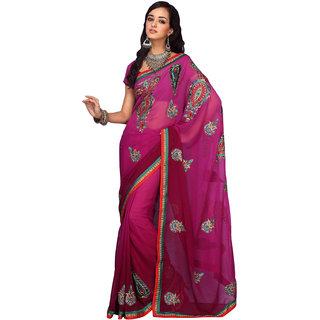 Prafful Pink Georgette Embroidered Festive Wear Saree