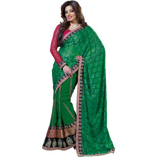 Prafful Green Georgette Bordered Party Wear Saree