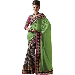 Prafful Green Georgette Bordered Festive Wear Saree