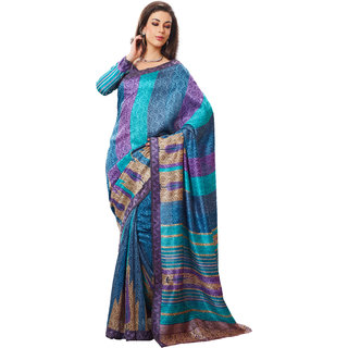 Prafful Lavender-Green Silk Printed Festive Wear Saree