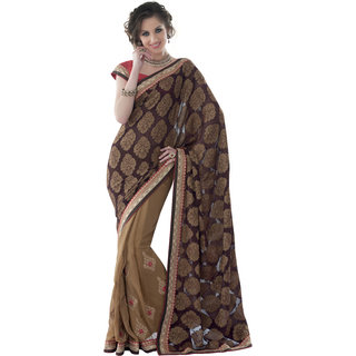 Prafful Brown Brasso Bordered and Embroidered Party Wear Saree