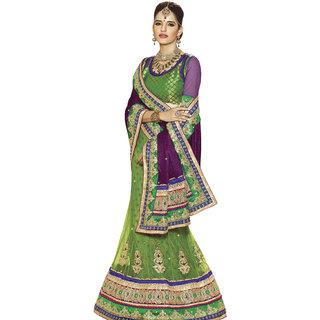 Prafful Green Net Bordered Wedding Wear Saree