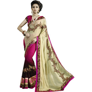 Prafful Cream Georgette Embroidered Party Wear Saree