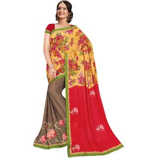 Prafful Yellow-Beige Georgette Embroidered Saree Party Wear Saree