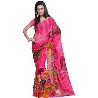 Prafful Pink Georgette Printed Casual Wear Saree