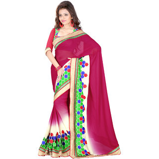 Prafful Magenta Chiffon Embroidered Festive Wear Saree