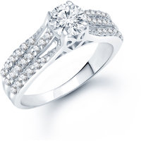 Meenaz  Solitaire Ring For Girls  Women Silver Plated In American Diamond  FR164