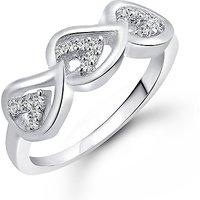 Meenaz  Fancy Ring For Girls  Women Silver Plated In American Diamond Cz  FR437