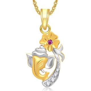 Ganpati God Pendant With Chain Lockets For Men And Women Gold Plated In American Diamond Cz GP280