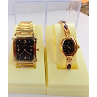 Pair Watches Black Square Dial Gold Strap Couple Watches For Men  Women