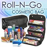 Roll-N-Go Black Cosmetic Bag Toiletry Jewelery Organizer