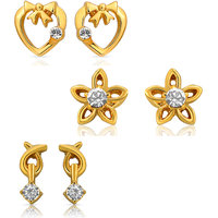 Mahi Eita Collection Combo Gold Plated Crystal Stud Earring For Women