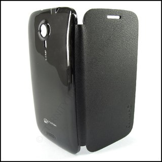 Micromax A116 Canvas HD Black Smooth Leather Flip Back Cover in black color available at ShopClues for Rs.149