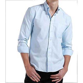 Grahakji Mens Blue Comfort Fit Formal Shirt