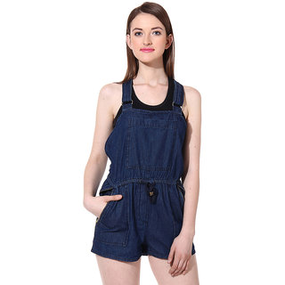 Oxolloxo Womens Blue Cotton Casual Dungaree