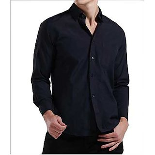 Grahakji Mens Black Comfort Fit Formal Shirt