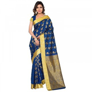 Subhash SareesDaily Wear Navy Blue Color Art Silk Saree/Sari