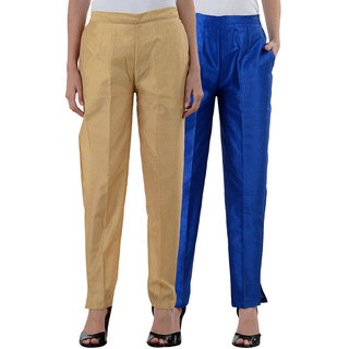 NumBrave Golden RoyalBlue Raw Silk Pants (Combo of 2)