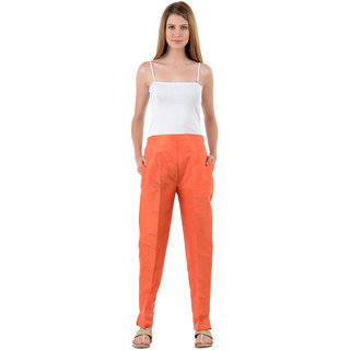 NumBrave Orange Raw Silk Pants