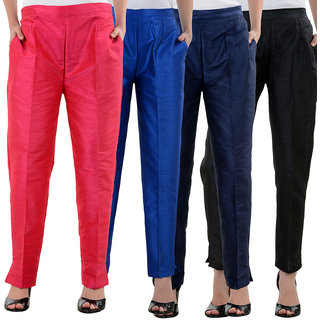 NumBrave Pink RoyalBlue NavyBlue Black Raw Silk Pants (Combo of 4)
