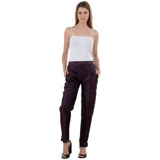 NumBrave Purple Raw Silk Pants