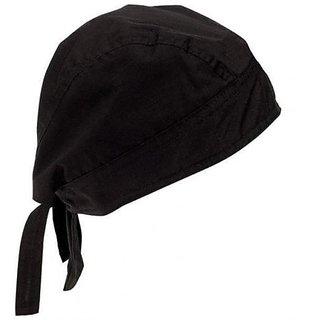 Bikers Cotton Bandanna/Head wrap/Scarf/Sikh Parka/Commando Cap Unisex(Black)