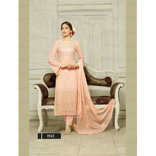 Thankar Light Pink Embroidered Chiffon Straight Suit