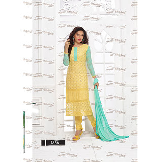Thankar Yellow And Aqua Embroidered Chiffon Straight Suit