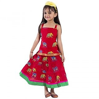 Decot Animal Print Baby Girls Lahenga Choli