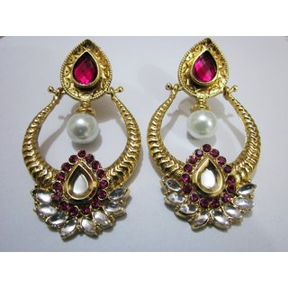 Celebrity Touch One Gram Gold Pearl Drop Earrings