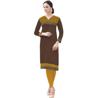 Vastrani Brown Plain Cotton Casual Wear Kurti 57K7