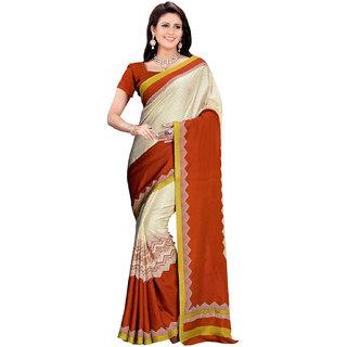 Prafful Cream-Brown Bhagalpuri Silk Geometric Printed Festive Wear Saree
