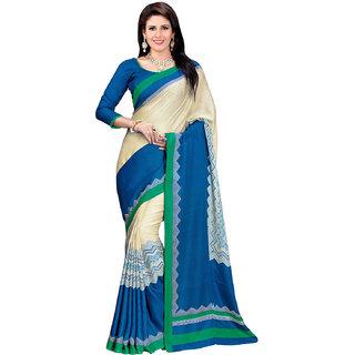 Prafful Cream-Blue Bhagalpuri Silk Geometric Printed Festive Wear Saree
