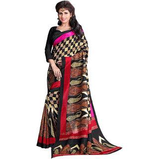 Prafful Cream-Black Bhagalpuri Silk Checkered Festive Wear Saree